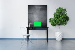 3D rendeu o local de trabalho com quadro vazio Fotos de Stock