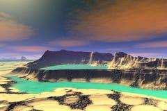3d rendeu o planeta do estrangeiro da fantasia Rochas e lago Fotografia de Stock Royalty Free