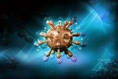 3d rendeu o v?rus do VIH no c?rrego do sangue no fundo da cor ilustração do vetor