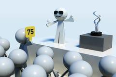 3D rendeu os povos da vara que oferecem no leilão Foto de Stock