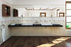 3D rendeu a sala luxuosa do banho Fotografia de Stock Royalty Free