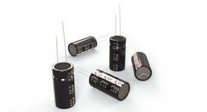 3D rendição - capacitores eletrolíticos foto de stock