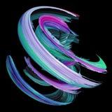 3d a rendição, curso torcido abstrato da escova, pinta o respingo, chapinha, onda colorida, espiral artística, isolada no fundo p ilustração stock