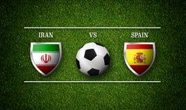 3D rendição - programação do fósforo de futebol, Irã contra a Espanha Fotografia de Stock