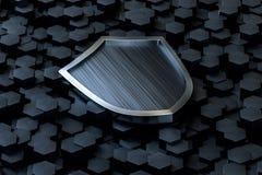3d rendição, um protetor da defesa com fundo tecnologico ilustração do vetor