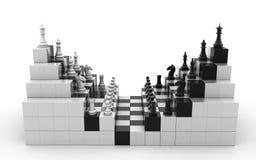 3d rendido ajustou-se das figuras da xadrez isoladas em um fundo branco ilustração stock