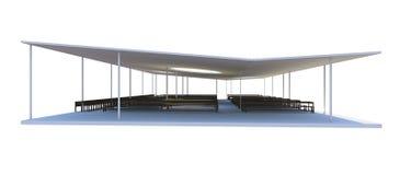 3D rendido de arquitectura futurista en el fondo blanco Fotografía de archivo