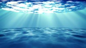 3D rendido de rayos ligeros del sol debajo del agua stock de ilustración