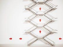3d rendido, escaleras exteriores con las flechas en la pared blanca Fotos de archivo libres de regalías
