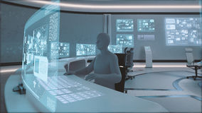 3D rendido, interior moderno, futurista del centro de mando con la gente Fotos de archivo