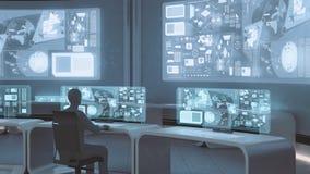 3D rendido, interior moderno, futurista do centro de comando com povos Imagem de Stock Royalty Free