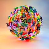 3d rendono con le lettere che formano una palla Fotografie Stock