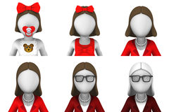 3d rendono degli avatar femminili Immagine Stock Libera da Diritti