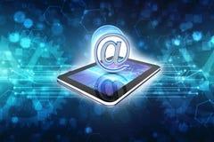 3d rendono del concetto di Internet del email nel fondo della tecnologia Immagini Stock