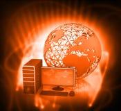 3d rendono del desktop computer con il globo Fotografia Stock Libera da Diritti