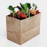 3D rendono del sacco di carta con la verdura Immagini Stock