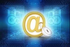 3d rendono del simbolo del email con la serratura Fotografia Stock