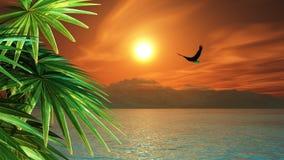 3D rendono del volo dell'aquila in un paesaggio tropicale Fotografie Stock Libere da Diritti