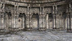 3D rendono dell'abbandonato e della corte di stile di fantasia o della stanza invasa del trono immagine stock