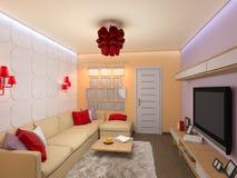 3d rendono dell'interior design del salone in una s moderna Immagini Stock