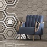 3d rendono dell'interno beige con il modello esagonale dei pannelli sulla parete e sulla poltrona Fotografia Stock