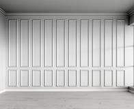 3d rendono dell'interno bianco con i pannelli classici ed il parquet naturale immagini stock