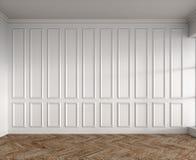 3d rendono dell'interno bianco con i pannelli classici ed il parquet naturale immagine stock libera da diritti