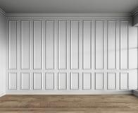 3d rendono dell'interno bianco con i pannelli classici ed il parquet naturale fotografie stock libere da diritti