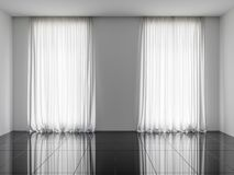 3d rendono dell'interno con le finestre e la traslucidità Tulle immagine stock libera da diritti