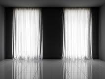 3d rendono dell'interno con le finestre e la traslucidità Tulle immagini stock