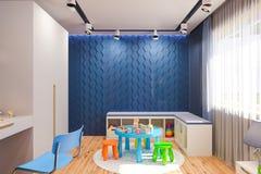 3d rendono dell'interno della camera da letto del ` s dei bambini nel colore blu profondo illustrazione di stock