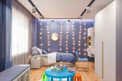 3d rendono dell'interno della camera da letto del ` s dei bambini nel colore blu profondo royalty illustrazione gratis