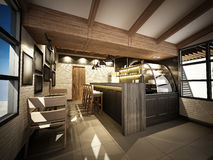 3d rendono della caffetteria, struttura 3dwire rendono Fotografia Stock Libera da Diritti