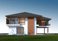 3D rendono della casa tropicale con il percorso di ritaglio Immagini Stock