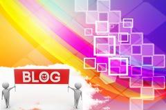 3d rendono della gente con l'illustrazione dell'insegna del blog Fotografia Stock