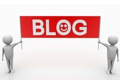 3d rendono della gente con l'insegna del blog Fotografie Stock Libere da Diritti