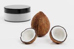 3D rendono della noce di cocco con crema Immagine Stock