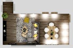 3d rendono della pianta della casa illustrazione di stock