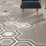3d rendono della piastrella per pavimento beige con il modello Fotografia Stock