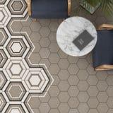 3d rendono della piastrella per pavimento beige con il modello Immagine Stock