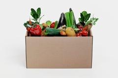 3D rendono della scatola di carta con la verdura Fotografia Stock