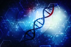 3d rendono della struttura del DNA nel fondo medico della tecnologia Fotografie Stock Libere da Diritti