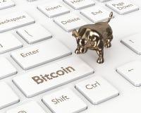 3d rendono della tastiera di computer con il bottone di BITCOIN Immagini Stock