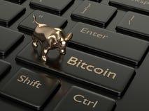3d rendono della tastiera di computer con il bottone di BITCOIN Immagine Stock Libera da Diritti
