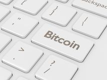 3d rendono della tastiera di computer con il bottone di BITCOIN Immagini Stock Libere da Diritti
