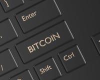 3d rendono della tastiera di computer con il bottone di BITCOIN Fotografia Stock Libera da Diritti
