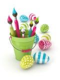 3d rendono delle uova di Pasqua e dei pennelli in secchio Fotografia Stock Libera da Diritti