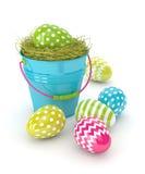 3d rendono delle uova di Pasqua e del secchio Immagine Stock