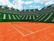3D rendono di bei sedili moderni di verde dello stadio del campo in argilla del tennis per quindici mila fan illustrazione di stock