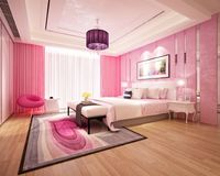 3d rendono di camera di albergo moderna Immagine Stock Libera da Diritti